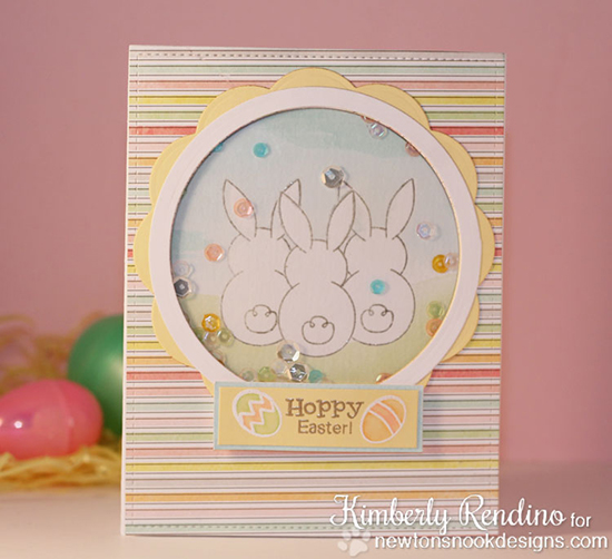 Sharker Easter card with Bunnies by Kimberly Rendino | Bunny Hop Stamp set by Newton's Nook Designs