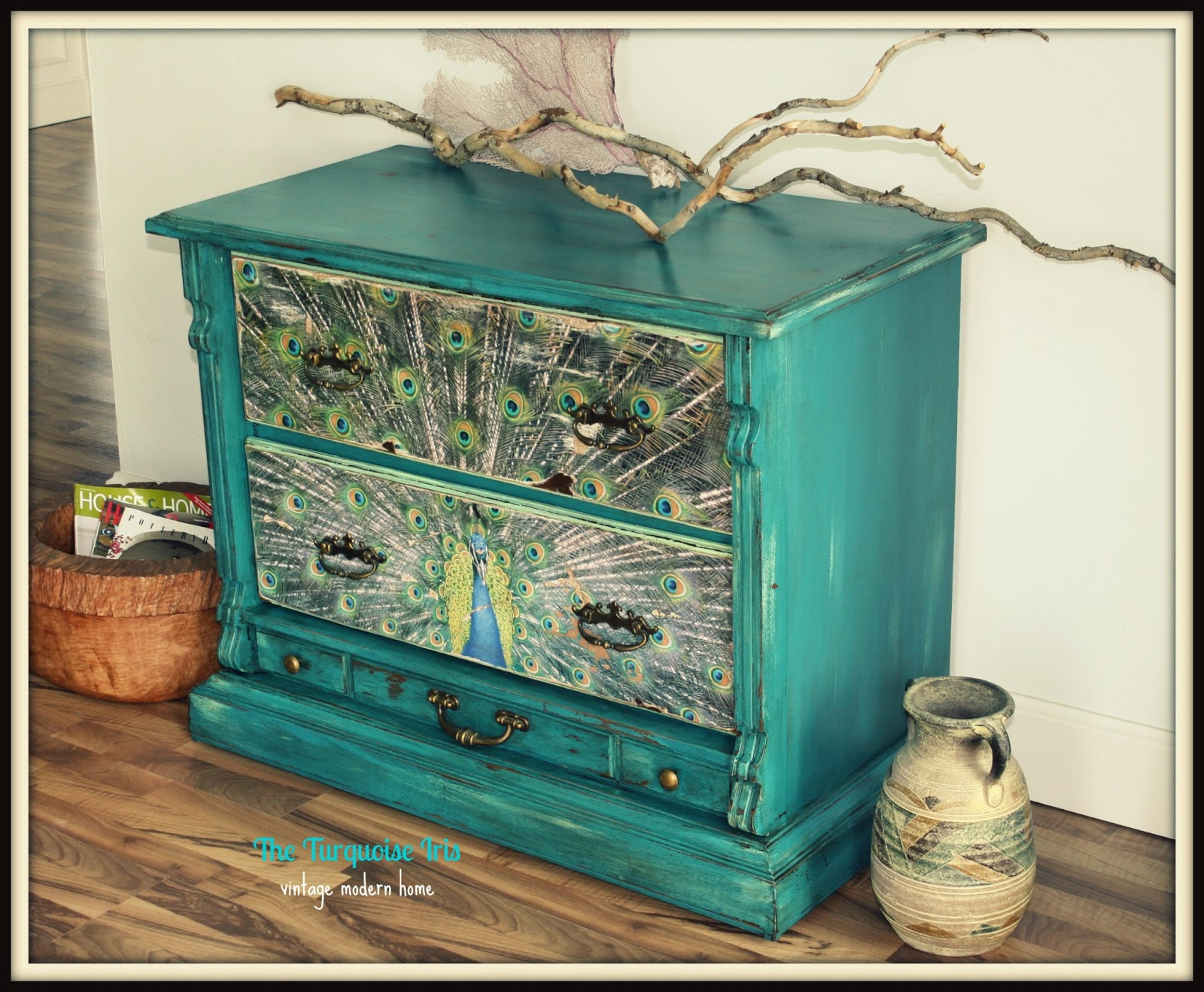 Teal Vintage Dresser / Chest Accented With A Peacock