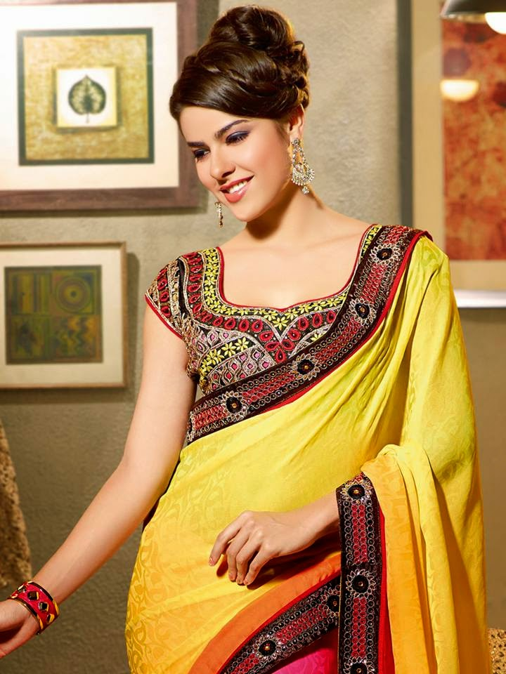 Black Off White Jacquard Semi Georgette Saree Collection By