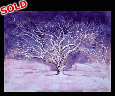 Oak Tree Grey Towers Nunthorpe painting in mixed media by North East artist Ingrid Sylvestre UK North East Art Durham artist SOLD