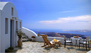 greek island Santorini blue sky