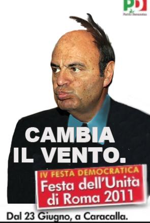 Immagine ironica riguardo il manifesto per la Festa dell'Unità a Roma firmato dal PD, reinterpretato con una foto particolare di Bruno Vespa