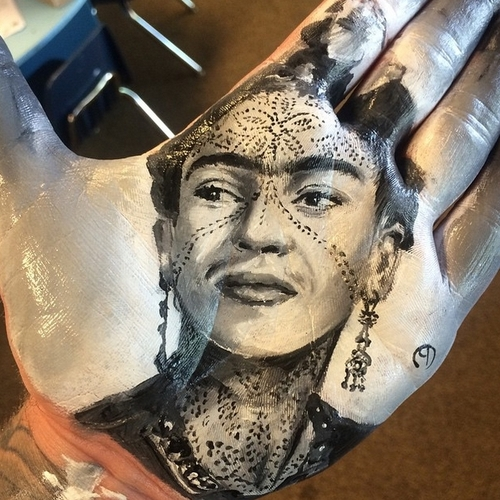 03-Frida-Kahlo-Russell-Powell-Hand-Body-Painting-Transferred-to-Paper-www-designstack-co