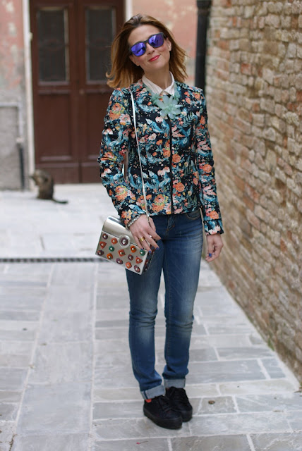 floral jacket, flatform sneakers, Angela Frascone bag, Fashion and Cookies