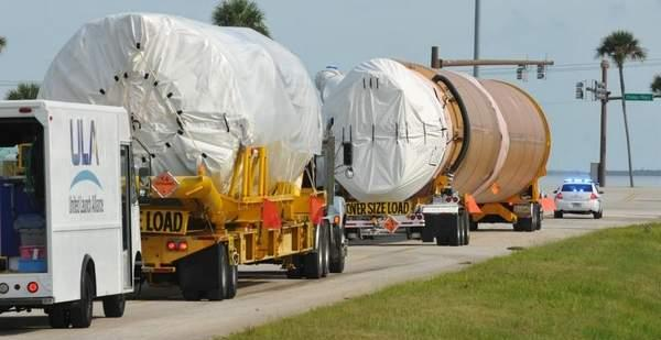 The Atlas V booster and Centaur upper stage that will launch the next NASA Mars orbiter were unloaded and transported Monday to the Atlas Spaceflight Operations Center. / Tim Shortt/FLORIDA TODAY