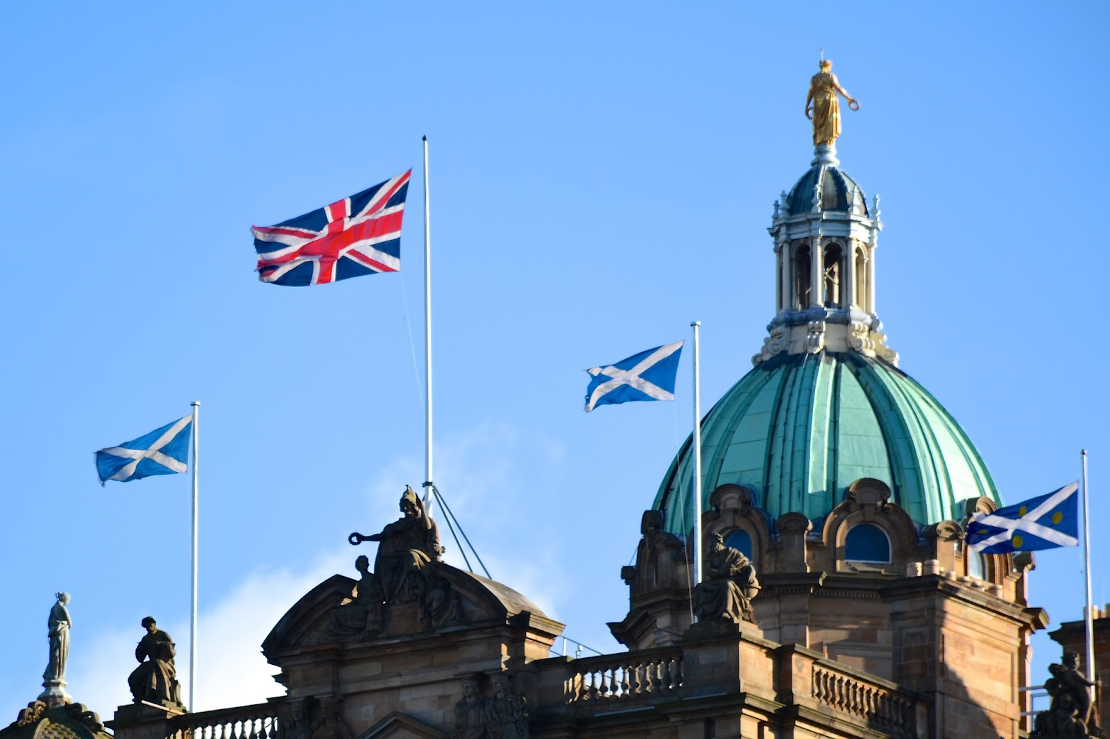 U.K. and Scottish flags fly in Edinburgh