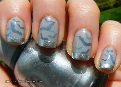 Halloween nail art challenge. Bats in fog with silver tips.