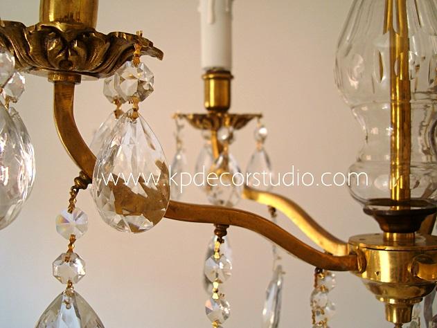 Lámparas de lágrimas y velas estilo araña de los años 40 con brazos de latón y bronce