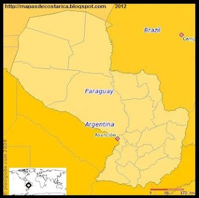 Mapa de PARAGUAY, (PLANIGLOBE)