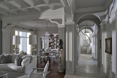 unbelievably beautiful house house interior in white with stunning details on the furnishings, pillars and ceiling