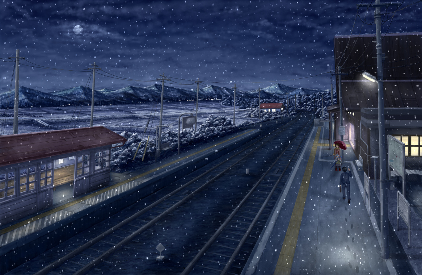 Landscape Night Original Scenic Scenery Snow Anime Train Station HD Wallpaper Background Image Picture Photo 1366x891