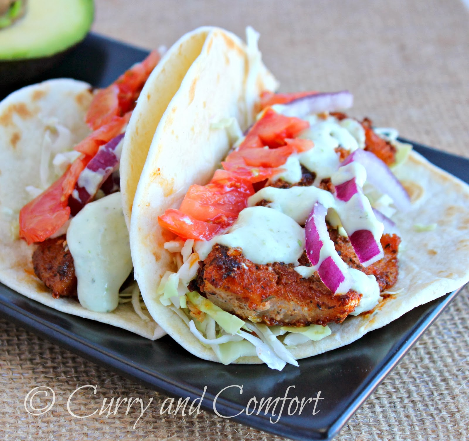 kitchen simmer avocado ranch sauce on cajun fish tacos