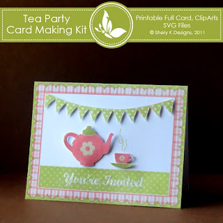 Free Tea Party Invitation Card making Kit