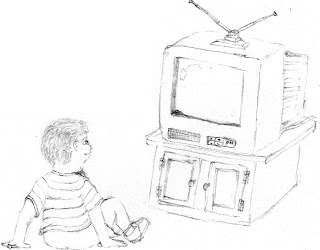 "Image: A small boy, no older than 10, sits on the floor, leaning his weight on his arms. He faces a cathode-ray-tube television set, set atop a small cabinet, in clear imitation of Calvin from Bill Waterson's ""Calvin and Hobbes"". Caption:"