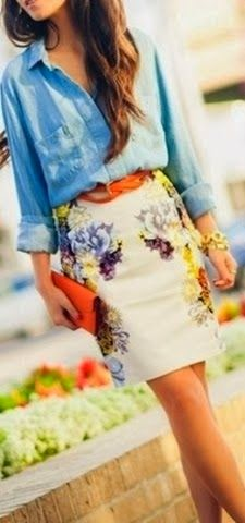 Stylish spring skirt with boyfriend shirt
