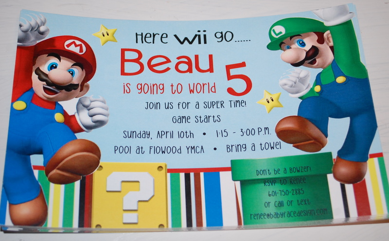Mario Birthday Invitations
