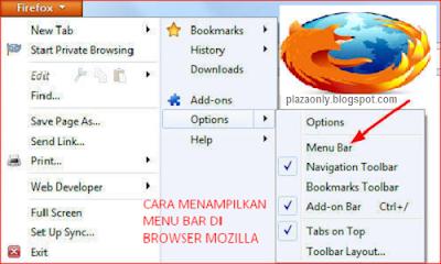 Cara Menampilkan Menu Bar di Browser Mozilla