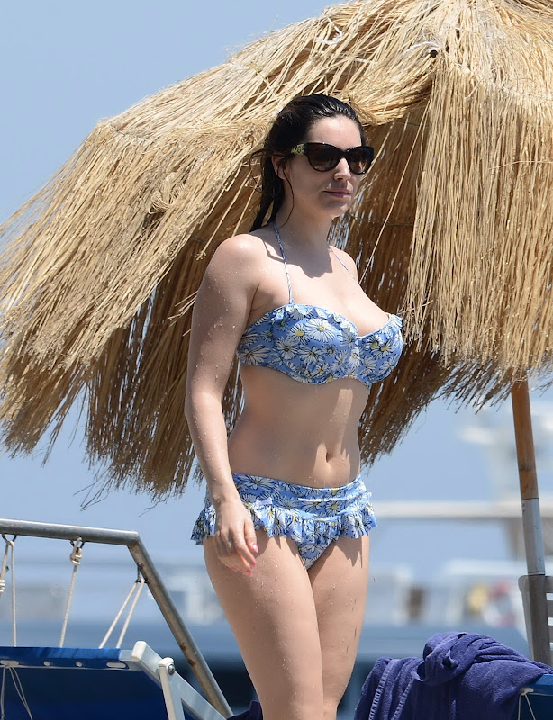 Kelly Brook  wearing a Floral Print Bikini in Italy