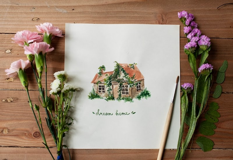Dream Home watercolor art by Dara Muscat