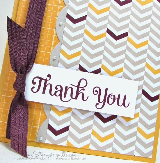 Stampingville: Thank You (for beautiful ribbon!) #cardmaking #StampinUp #crafts