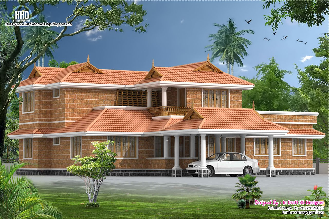 Kerala style traditional villa with courtyard house for Kerala style villa plans