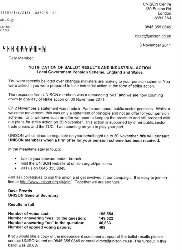 Johns labour blog november 2011 this morning i received this letter double click to bring up detail from unison confirming the ballot result over the local government pension scheme spiritdancerdesigns Images