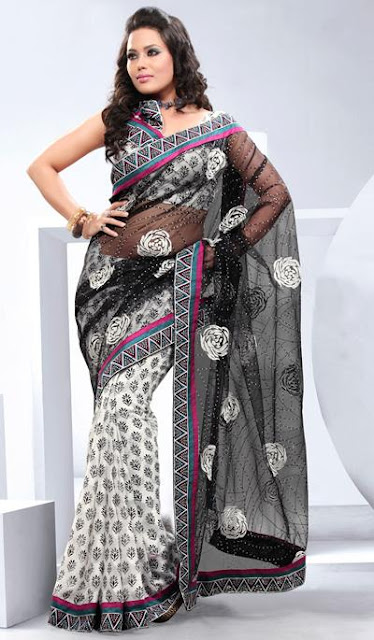 Black-White-Embroidered-Partywear-Saree