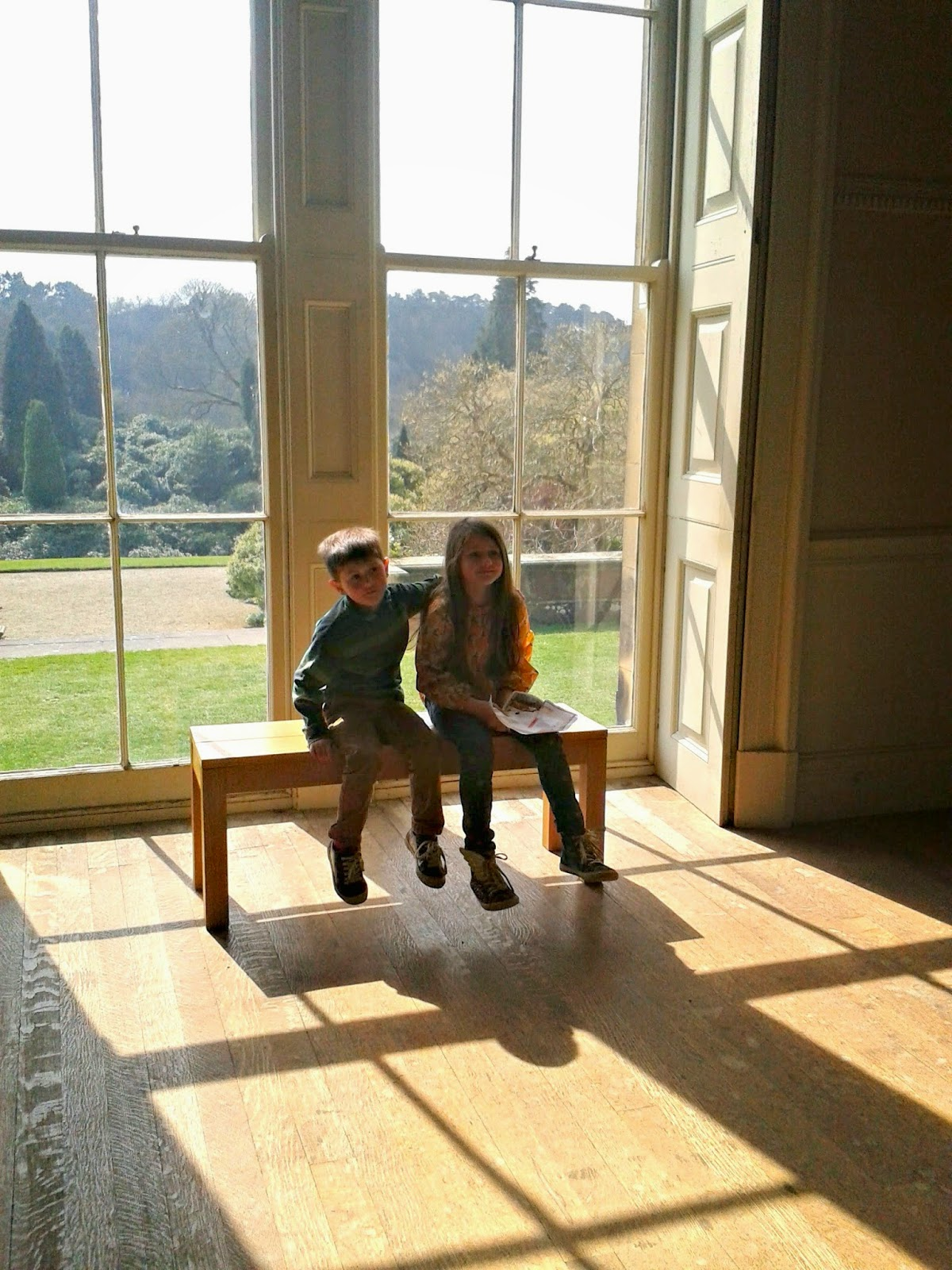 Lucas and Maisie in Belsay Hall.