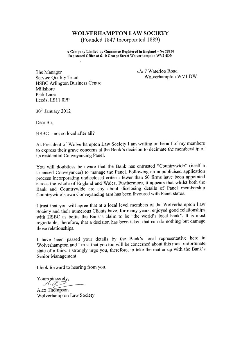 Wolverhampton law society 2012 so for starters here is a copy of the presidents letter to hsbc on the topic altavistaventures Choice Image