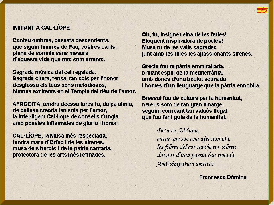 Poemes a l 39 adriana - Amor en catalan ...