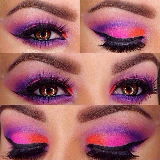 Funky Purple Orange Eyeshadow Tutorial Full Eyes Makeup B G
