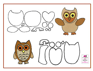 Paper Piecing owls in browns free template to download