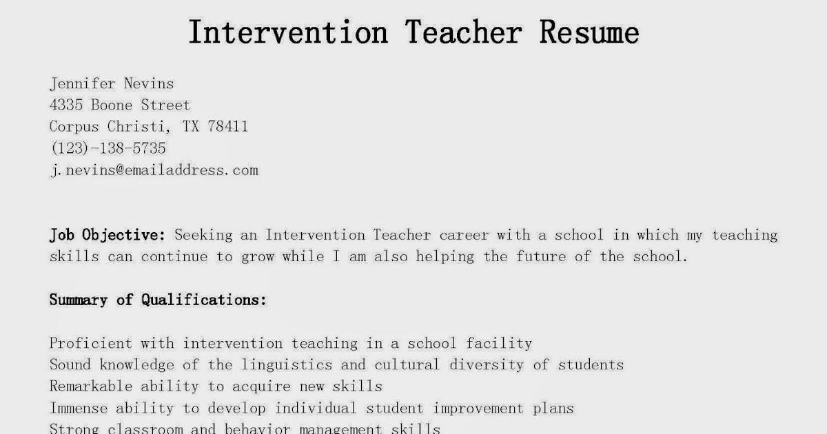 resume samples  intervention teacher resume sample