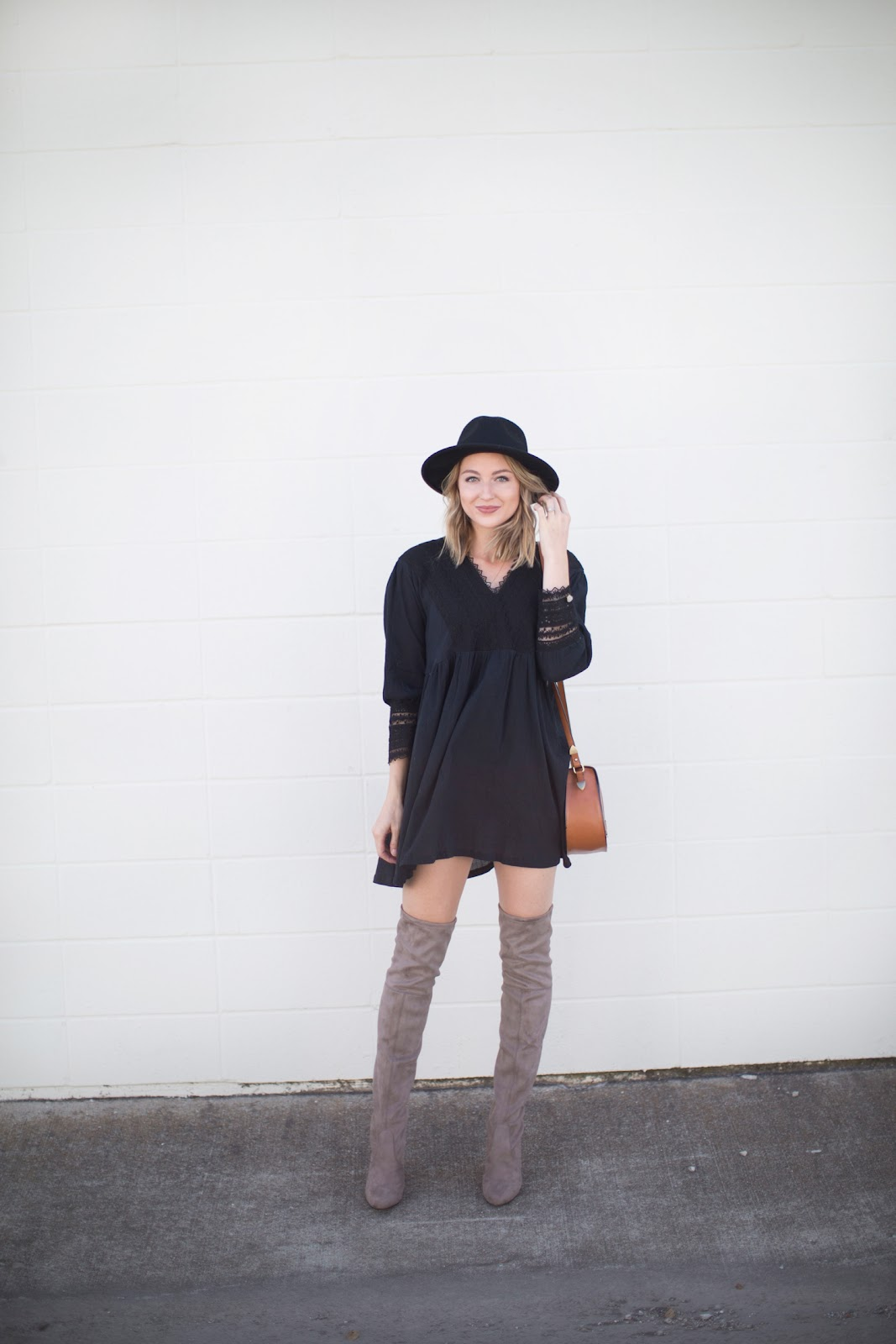 Mini dress + tall boots