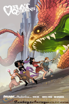 A promotional cover done by fiona staples for the premier issue of rat queens