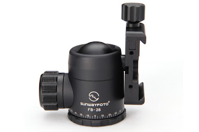 Sunwayfoto FB-28 ball head tilted - side view