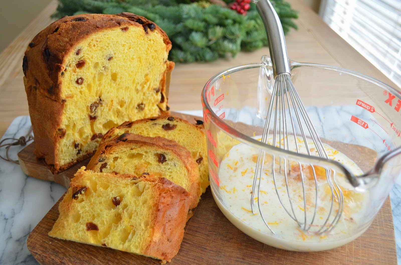 Panettone French Toast, mixing ingredients.