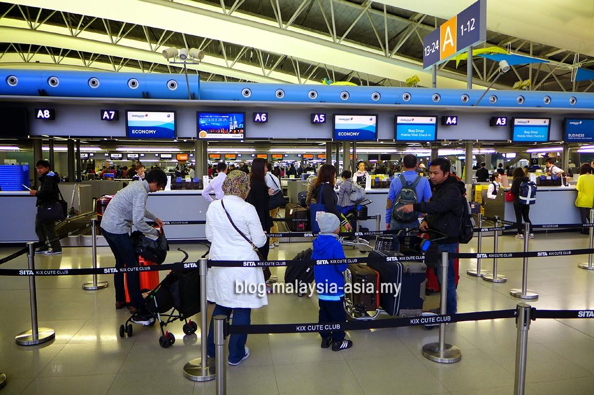 MAS check-in counter at Kansai Airport