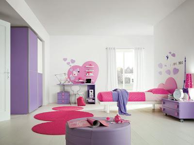 habitación niña rosa lila