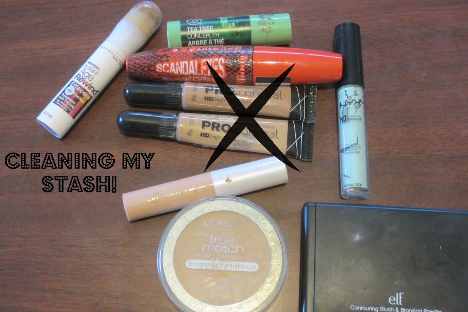 l.a girl pro concealer, maybelline instant age rewind concealer, the body shop tea tree concealer, rimmel mascara