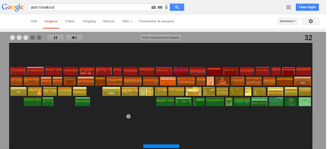 Jogando Breakout do Atari no Google Imagens