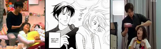 The Japanese, manga and Korean versions of Chiaki blowdrying Nodame's hair