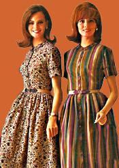 1960s dress green striped shirt waist advertisement Just Peachy, Darling
