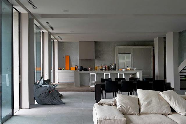 Contemporary interiors of modern concrete home in Australia