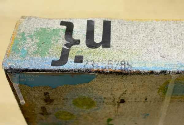 Mixed Media Keilrahmen mit Scraps und Stickern