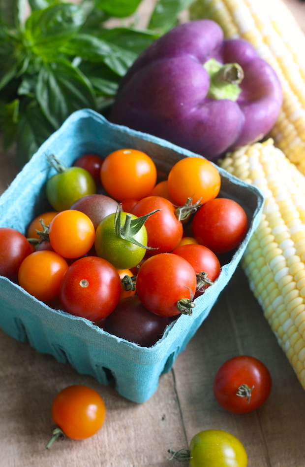 lime basil, cherry tomatoes, purple bell pepper, and sweet corn