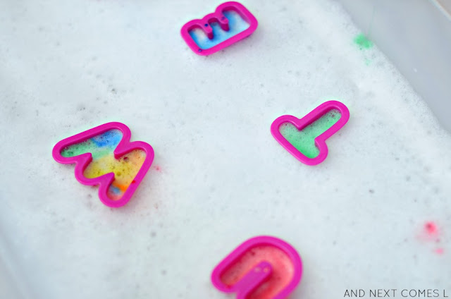 Soap foam letter painting sensory activity for kids from And Next Comes L