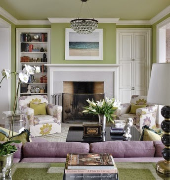 Eye for design decorating with the purple green combination - Purple and green living room decor ...