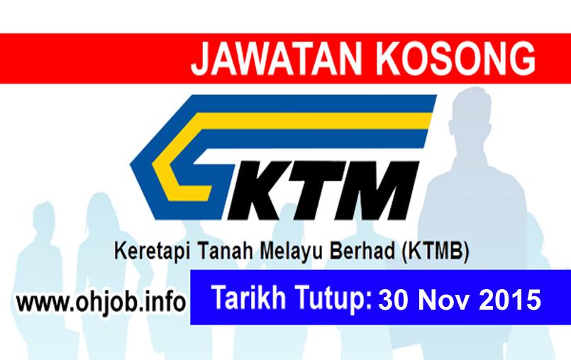 Jawatan Kerja Kosong Keretapi Tanah Melayu Berhad (KTMB) logo www.ohjob.info november 2015