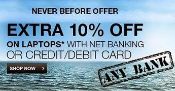 Flipkart Offer: Get 5% Extra Discount on Laptops (On making payment through Credit / Debit Card)
